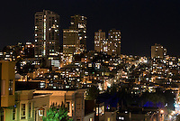 Night view of San Francisco taken from atop Telegraph Hill at the base of Coit Tower