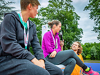 Den Bosch, Netherlands, 13 June, 2018, Tennis, Libema Open, Kidsday, kids press conference with Demi Schuurs (NED) (L) and Bibiane Schoofs (NED)<br /> Photo: Henk Koster/tennisimages.com