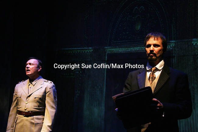 """Hugh Scully and Sterling Swann as Philipstown Depot Theatre presents The Secret Garden on November 15, 2009 in Garrison, New York. The musical The Secret Garden is the story of """"Mary Lennox"""", a rich spoiled child who finds herself suddenly an orphan when cholera wipes out the entire Indian village where she was living with her parents. She is sent to live in England with her only surviving relative, an uncle who has lived an unhappy life since the death of his wife 10 years ago. """"Archibald's son Colin"""", has been ignored by his father who sees Colin only as the cause of his wife's death.This is essentially the story of three lost, unhappy souls who, together, learn how to live again while bringing Colin's mother's garden back to life. (Photo by Sue Coflin/Max Photos)........"""
