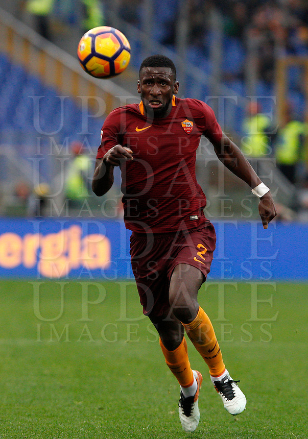 Roma's Antonio Ruediger in action during the Italian Serie A football match between Roma and Napoli at Rome's Olympic stadium, 4 March 2017. <br /> UPDATE IMAGES PRESS/Riccardo De Luca