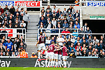 West ham players and fans celebrate after Michail Antonio's goal put them 2-4 up. Newcastle v West Ham, August 15th 2021. The first game of the season, and the first time fans were allowed into St James Park since the Coronavirus pandemic. 50,673 people watched West Ham come from behind twice to secure a 2-4 win.