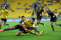 Hurricanes' Salesi Rayasi scores during the Super Rugby Aotearoa match between the Hurricanes and Chiefs at Sky Stadium in Wellington, New Zealand on Saturday, 20 March 2020. Photo: Dave Lintott / lintottphoto.co.nz