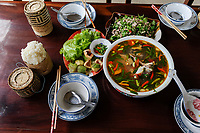 LAO PDR, fish soup and sticky rice / Laos, Fischsuppe und Klebreis