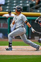 Nick Torres (18) of the El Paso Chihuahuas at bat against the Salt Lake Bees in Pacific Coast League action at Smith's Ballpark on July 10, 2016 in Salt Lake City, Utah. El Paso defeated Salt Lake 11-2. (Stephen Smith/Four Seam Images)