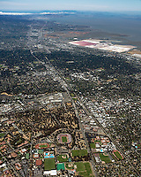 high overview aerial photograph Palo Alto, San Francisco Peninsula, Santa Clara county, California