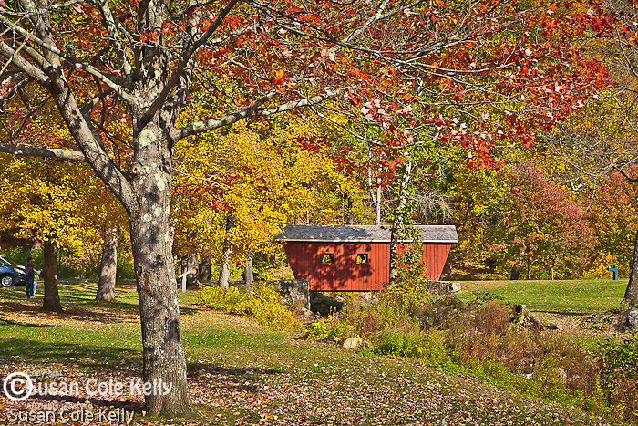 Fall foliage on the covered bridge in Kent Falls State Park in Kent, CT, USA