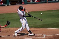 Baltimore Orioles Trey Mancini (16) hits a single during a Major League Spring Training game against the Philadelphia Phillies on March 12, 2021 at the Ed Smith Stadium in Sarasota, Florida.  (Mike Janes/Four Seam Images)