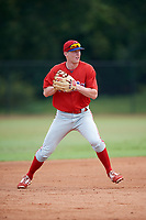 Philadelphia Phillies Jake Holmes (9) during an Instructional League game against the Toronto Blue Jays on September 30, 2017 at the Carpenter Complex in Clearwater, Florida.  (Mike Janes/Four Seam Images)
