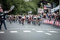Bryan Coquard (FRA/Vital Concept - B&B Hotels) wins the close sprint with Nacer Bouhanni (FRA/Cofidis) and Alfdan De Decker (BEL/Wanty Groupe Gobert)<br /> <br /> GP Marcel Kint 2019 (BEL)<br /> One Day Race: Kortrijk – Zwevegem 188.10km. (UCI 1.1)<br /> Bingoal Cycling Cup 2019