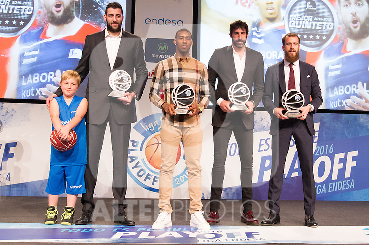 Ioannis Bourousis, Derius Adams, Alex Mumbru and Sergio Rodriguez,during presentation of the Liga Endesa playoff. May 23,2016. (ALTERPHOTOS/Rodrigo Jimenez)