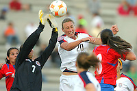 09 April 2008:  Action photo of Mary Abby Wambach (R) of United States fighting for the ball with Priscilla Nathalia of Costa Rica, during game of the Womens Preolympic soccer tournament held at Ciudad Juarez. Mexico