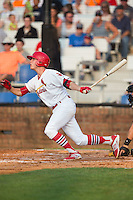 Hunter Newman (32) of the Johnson City Cardinals follows through on his swing against the Bristol Pirates at Howard Johnson Field at Cardinal Park on July 6, 2015 in Johnson City, Tennessee.  The Pirates defeated the Cardinals 2-0 in game one of a double-header. (Brian Westerholt/Four Seam Images)