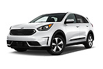 Stock pictures of low aggressive front three quarter view of 2018 KIA Niro FE 5 Door Hatchback Low Aggressive