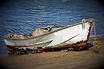 Boat pulled ashore, Balboa Island, CA.