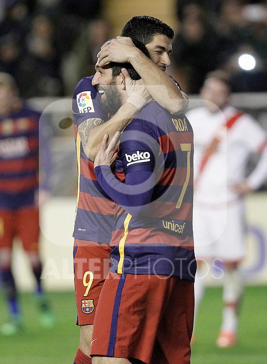 FC Barcelona's Luis Suarez (l) and Arda Turan celebrate goal during La Liga match. March 3,2016. (ALTERPHOTOS/Acero)