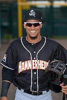 Jupiter Hammerheads outfielder Yefri Perez (12) before a game against the Bradenton Marauders on April 18, 2015 at McKechnie Field in Bradenton, Florida.  Bradenton defeated Jupiter 4-1.  (Mike Janes/Four Seam Images)