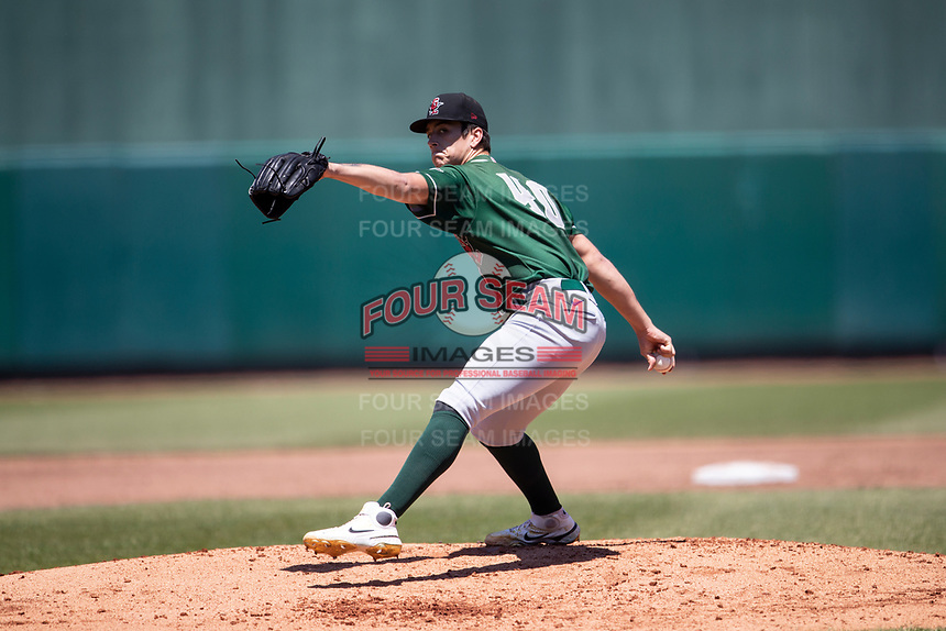 Great Lakes Loons pitcher Bobby Miller (40) delivers a pitch to the plate on May 30, 2021 against the Lansing Lugnuts at Jackson Field in Lansing, Michigan. (Andrew Woolley/Four Seam Images)