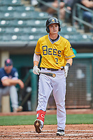 Preston Palmeiro (3) of the Salt Lake Bees at bat against the Tacoma Rainiers at Smith's Ballpark on May 16, 2021 in Salt Lake City, Utah. The Bees defeated the Rainiers 8-7. (Stephen Smith/Four Seam Images)