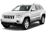 Front three quarter view of a 2012 Jeep Grand Cherokee Laredo X Suv.