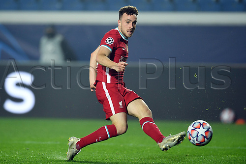 3rd November 2020; Bergamo, Lombardy, Italy. UEFA Champions League football, group stages, Atalanta versus Liverpool FC;  Goal scored by Diogo Jota for his hat trick for 0-5 in the 54th minute