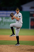 West Virginia Black Bears pitcher Cameron Junker (32) during a NY-Penn League game against the Batavia Muckdogs on June 26, 2019 at Dwyer Stadium in Batavia, New York.  Batavia defeated West Virginia 4-2.  (Mike Janes/Four Seam Images)