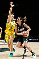 Melbourne, 15 August 2015 - Micaela COCKS of New Zealand drives to the basket in game one of the 2015 FIBA Oceania Championships in women's basketball between the Australian Opals and the New Zealand Tall Ferns at Rod Laver Arena in Melbourne, Australia. Aus def NZ 61-41. (Photo Sydney Low / sydlow.com)