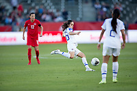 CARSON, CA - FEBRUARY 07: Katherine Alvarado #16 of Costa Rica clears a ball during a game between Canada and Costa Rica at Dignity Health Sports Complex on February 07, 2020 in Carson, California.
