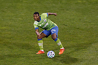 COLUMBUS, OH - DECEMBER 12: Jimmy Medranda #94 of Seattle Sounders FC kicks the ball against Columbus Crew during a game between Seattle Sounders FC and Columbus Crew at MAPFRE Stadium on December 12, 2020 in Columbus, Ohio.