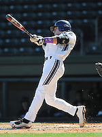 Second baseman Antonio Freschet (4) of the Northwestern Wildcats hits in a game against the Michigan State Spartans on Sunday, February 17, 2013, at Fluor Field at the West End in Greenville, South Carolina. Michigan State won, 7-4. (Tom Priddy/Four Seam Images)
