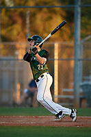 Dartmouth Big Green center fielder Matt Feinstein (23) hits a double during a game against the Northeastern Huskies on March 3, 2018 at North Charlotte Regional Park in Port Charlotte, Florida.  Northeastern defeated Dartmouth 10-8.  (Mike Janes/Four Seam Images)