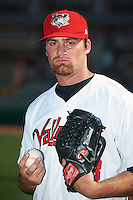 Tri-City ValleyCats pitcher Kyle Westwood (23) poses for a photo before a game against the Lowell Spinners on July 5, 2013 at Joseph L. Bruno Stadium in Troy, New York.  Tri-City defeated Lowell 5-4.  (Mike Janes/Four Seam Images)
