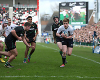 SCHOOLS CUP FINAL<br /> Monday 17th March 2014<br /> <br /> Josh Jordan races for the line during the Ulster Schools Cup final between MCB and Sullivan Upper School at Ravenhill Stadium, Belfast.<br /> <br /> Mandatory Image Credit - Photo by JOHN DICKSON - DICKSONDIGITAL
