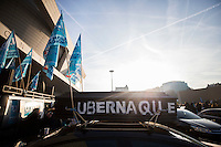 VTC drivers, including Uber France, attend a demonstration to denounce a decrease in the remuneration of drivers, on december 15, 2016 in Paris . # MANIFESTATION DES CHAUFFEURS DE VTC CONTRE UBER