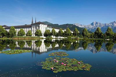 Austria, Styria, Admont: Admont Abbey   Oesterreich, Steiermark, Admont: Stiftsteich und Stift Admont