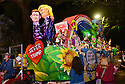 The Krewe D'Etat parade and its satirical floa Love Bugs rolls  in New Orleans on Friday, Feb. 24, 2017. (AFP/CHERYL GERBER)