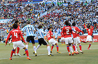 Korea Republic conceed an opening own goal after a Lionel Messi of Argentina Freekick