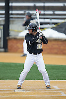 Nate Mondou (10) of the Wake Forest Demon Deacons at bat against the Towson Tigers at Wake Forest Baseball Park on March 1, 2015 in Winston-Salem, North Carolina.  The Demon Deacons defeated the Tigers 15-8.  (Brian Westerholt/Four Seam Images)