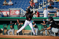 Batavia Muckdogs Milton Smith II (33) at bat during a NY-Penn League game against the West Virginia Black Bears on June 25, 2019 at Dwyer Stadium in Batavia, New York.  Batavia defeated West Virginia 7-3.  (Mike Janes/Four Seam Images)