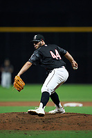 Fayetteville Woodpeckers pitcher Humberto Castellanos (44) during a Carolina League game against the Down East Wood Ducks on August 13, 2019 at SEGRA Stadium in Fayetteville, North Carolina.  Fayetteville defeated Down East 5-3.  (Mike Janes/Four Seam Images)