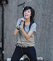 BOCA RATON, FL - JULY 28:  Singer Christina Grimmie preforms at the Selena Gomez world tour at Mizner Park Amphitheatre.   On July 28, 2011 in Boca Raton, Florida.<br /> <br /> <br /> People:  Christina Grimmie