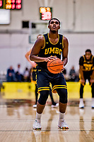 23 January 2019: UMBC Retriever Guard R.J. Eytle-Rock, a Freshman from London, England, prepares to shoot a foul shot in the final moments of second half action against the University of Vermont Catamounts at Patrick Gymnasium in Burlington, Vermont. The Retrievers handed the Catamounts their first America East loss of the season 74-61. Mandatory Credit: Ed Wolfstein Photo *** RAW (NEF) Image File Available ***