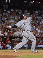 Aug 21, 2007; Phoenix, AZ, USA; Milwaukee Brewers first baseman (28) Prince Fielder pops out in the sixth inning against the Arizona Diamondbacks at Chase Field. Mandatory Credit: Mark J. Rebilas-US PRESSWIRE Copyright © 2007 Mark J. Rebilas