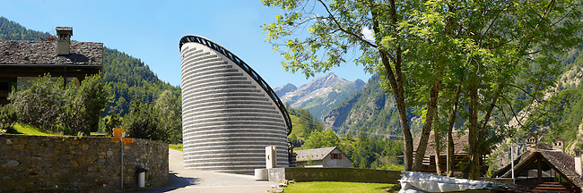 The church of San Giovanni Battista is located in the alpine village of Mogno. The new church was designed by the Swiss architect Mario Botta who used marble and granite from the valleys of the area.