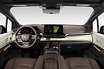 Stock photo of straight dashboard view of 2021 Toyota Sienna Platinum 5 Door Minivan Dashboard