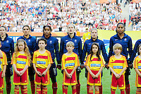 Fifa Women's World Cup Germany 2011 : France - Germany ( Frankrijk - Duitsland ) at Munchengladbach World Cup stadium : Laure LEPAILLEUR , Eugenie LE SOMMER , Laura GEORGES , Elodie THOMIS , Louisa NECIB , Elise BUSSAGLIA .foto DAVID CATRY / Vrouwenteam.be