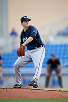 Lakeland Flying Tigers starting pitcher Casey Mize (32) delivers a pitch during a game against the Dunedin Blue Jays on July 31, 2018 at Dunedin Stadium in Dunedin, Florida.  Dunedin defeated Lakeland 8-0.  (Mike Janes/Four Seam Images)