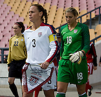 USA captain (3) Christie Rampone walks onto the field before the start of the first match of the Four Nations Tournament in Guangzhou, China on January 16, 2008. The United States defeated Canada 4-0.