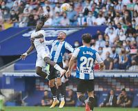 3rd October 2021;  RCDE Stadium, Barcelona, Spain: La Liga Football, Espanyol versus Real Madrid; <br /> Eduardo Camavinga of Real Madrid wins the header during the Liga match between RCD Espanyol and Real Madrid at RCDE Stadium in Cornella, Spain.