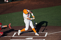Tennessee Volunteers catcher Jackson Greer (19) at bat against the Arkansas Razorbacks on May 14, 2021, on Robert M. Lindsay Field at Lindsey Nelson Stadium in Knoxville, Tennessee. (Danny Parker/Four Seam Images)