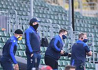 18th April 2021 2021; Recreation Ground, Bath, Somerset, England; English Premiership Rugby, Bath versus Leicester Tigers; Stuart Hooper Director of Rugby for Bath and his coaching team wach the final play of the match closely